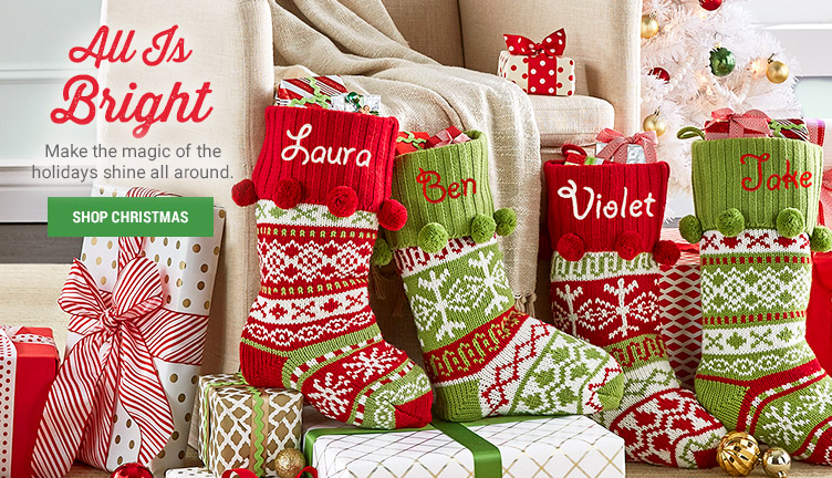 Knit Argyle/Snowflake Personalized Stockings with tree